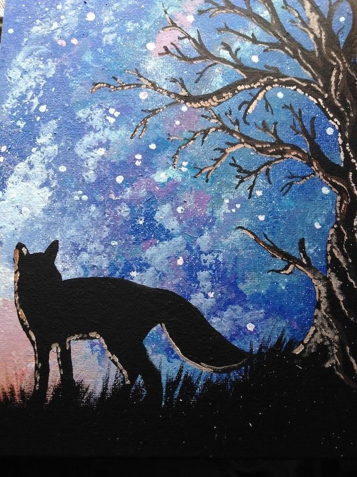 dark tree with no leaves, wolf standing under it, what to paint on a canvas, blue and pink sky