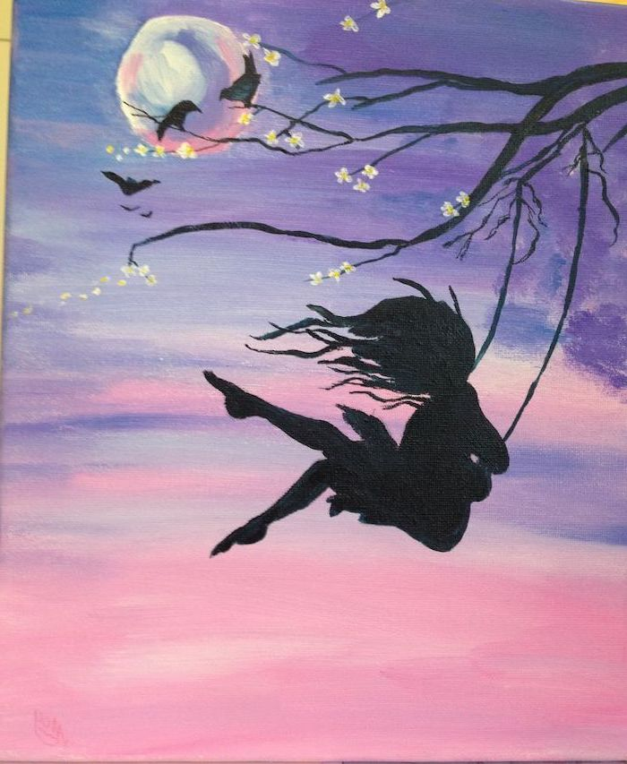 woman swinging on a swing, hanging from a tree branch, what to paint on a canvas, moon in the purple pink sky