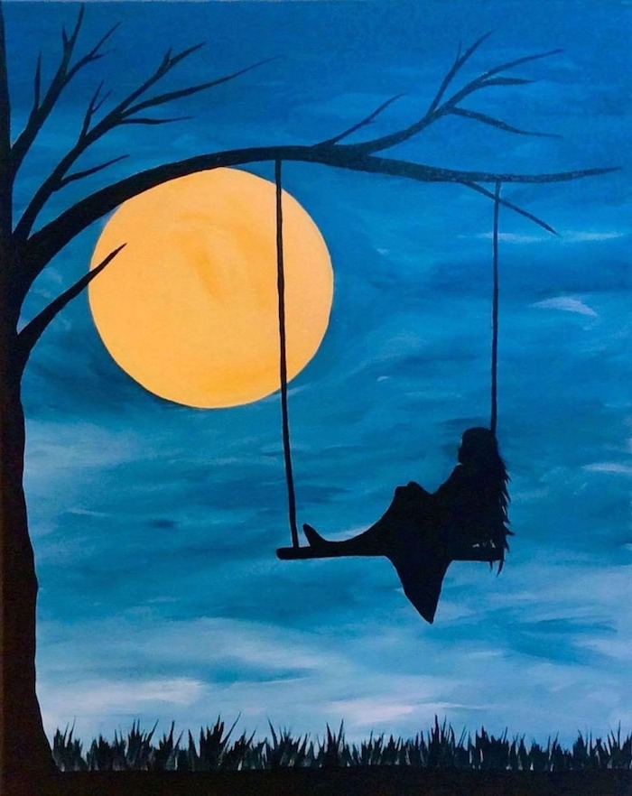 woman swinging on a swing, hanging from tree branch, large moon in the sky, what to paint on a canvas, blue background