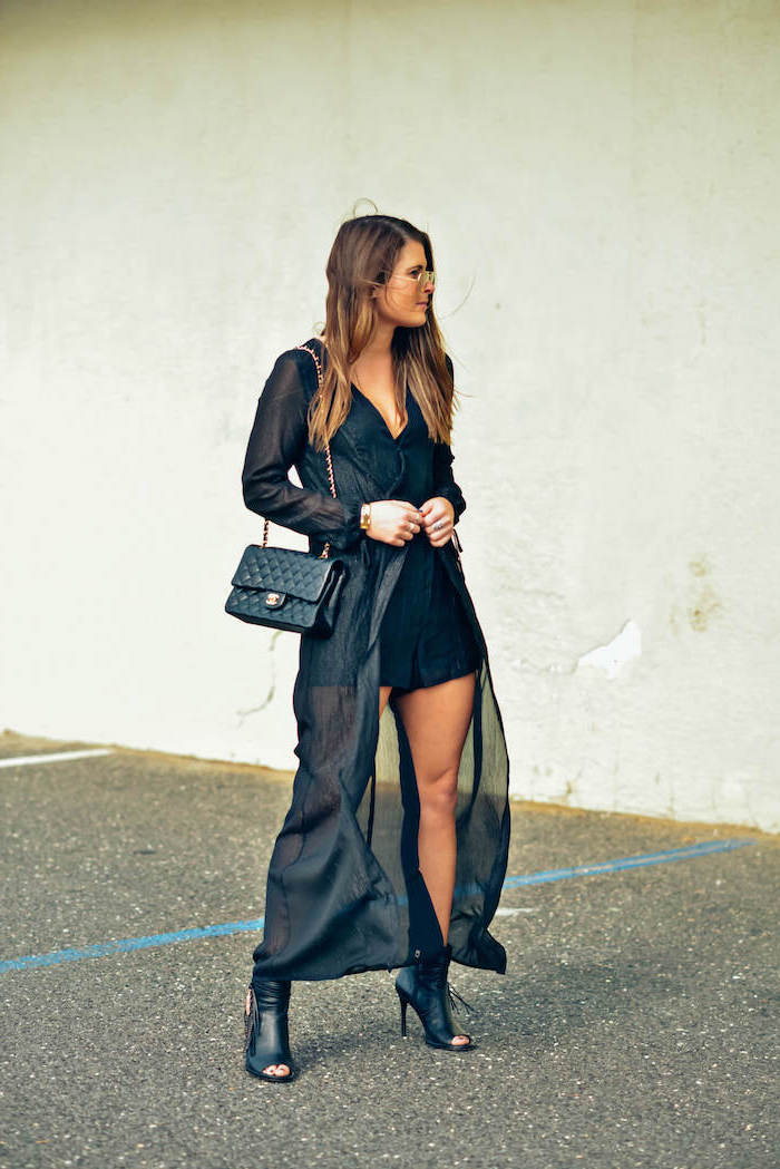 woman wearing black dress, long black kimono, black open toe boots, valentines day outfit ideas, black bag