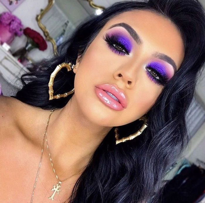 colorful eyeshadow, purple and pink eyeshadow colors, long black lashes, nude lip gloss, woman with long black wavy hair