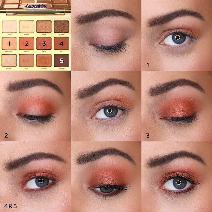 photo collage of step by step diy tutorial, orange golden eyeshadow colors, colorful eyeshadow, woman with green eyes