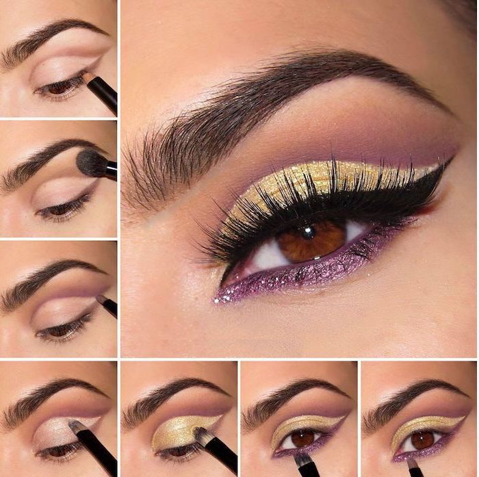 yellow and purple glitter eyeshadow colors, black cat eyeliner, colorful eyeshadow, photo collage of step by step diy tutorial