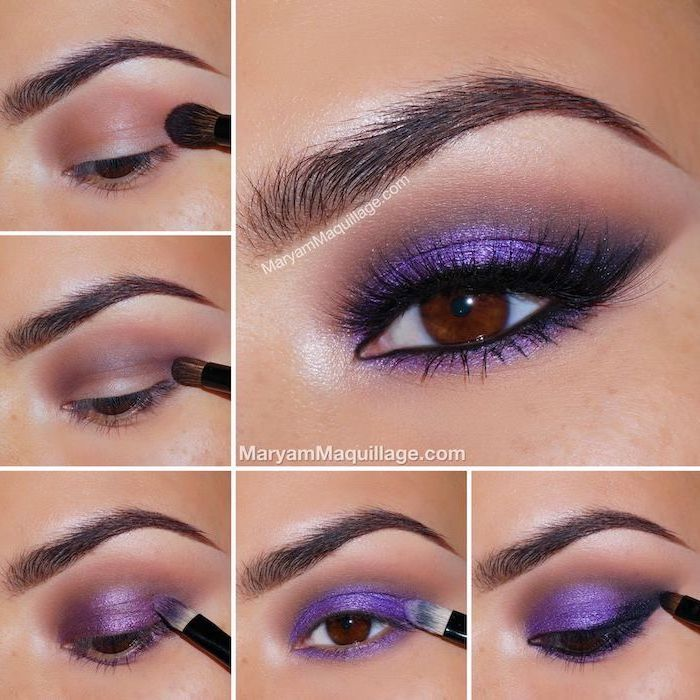 purple glittery eyeshadow colors, colorful eyeshadow, photo collage of step by step diy tutorial, woman with brown eyes