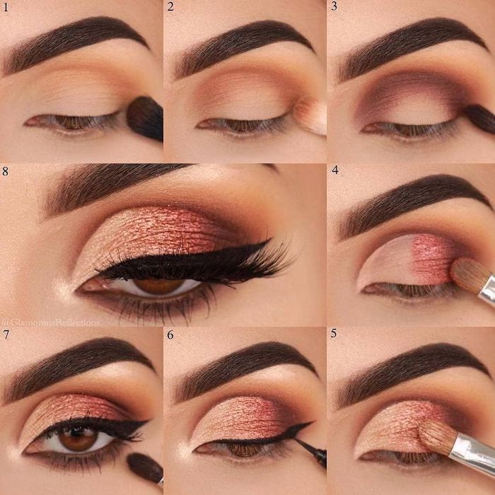 gold smokey eye, photo collage of step by step diy tutorial, black cat eyeliner, woman with brown eyes, thick dark eyebrows