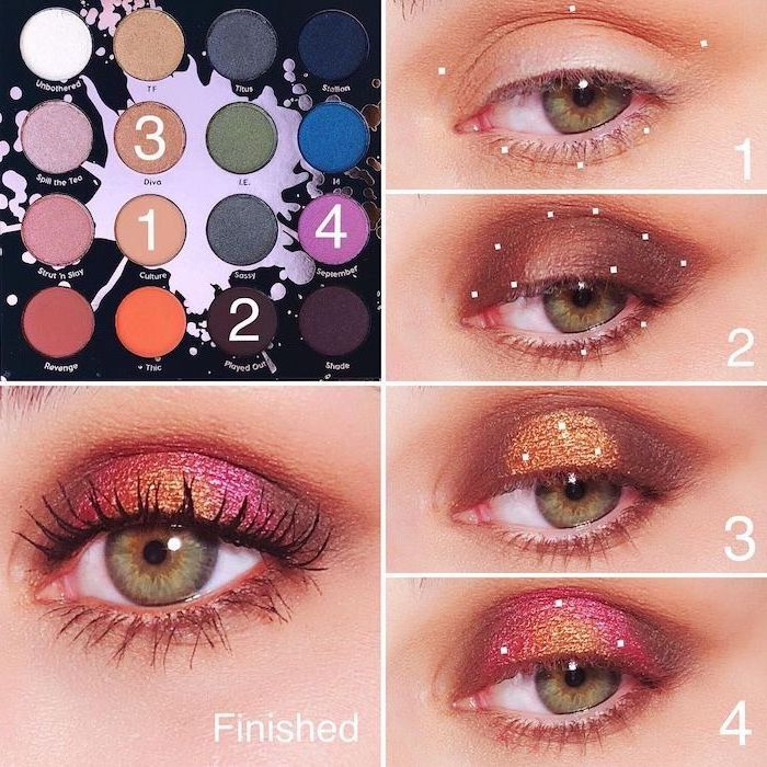 photo collage of step by step diy tutorial, gold smokey eye, woman with green eyes, pink golden glittery eyeshadow colors