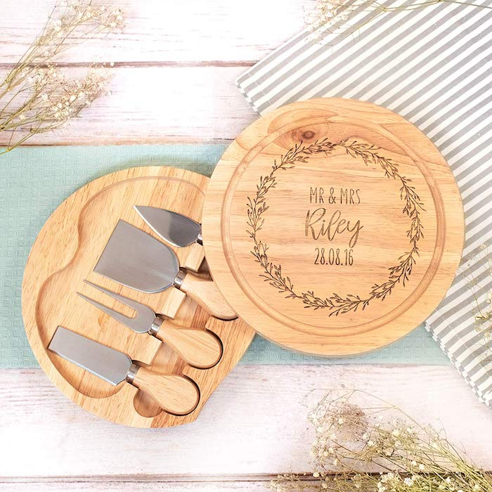wooden cheese board, personalised with mr and mrs riley, valentine's day gift ideas for her, cheese knives inside