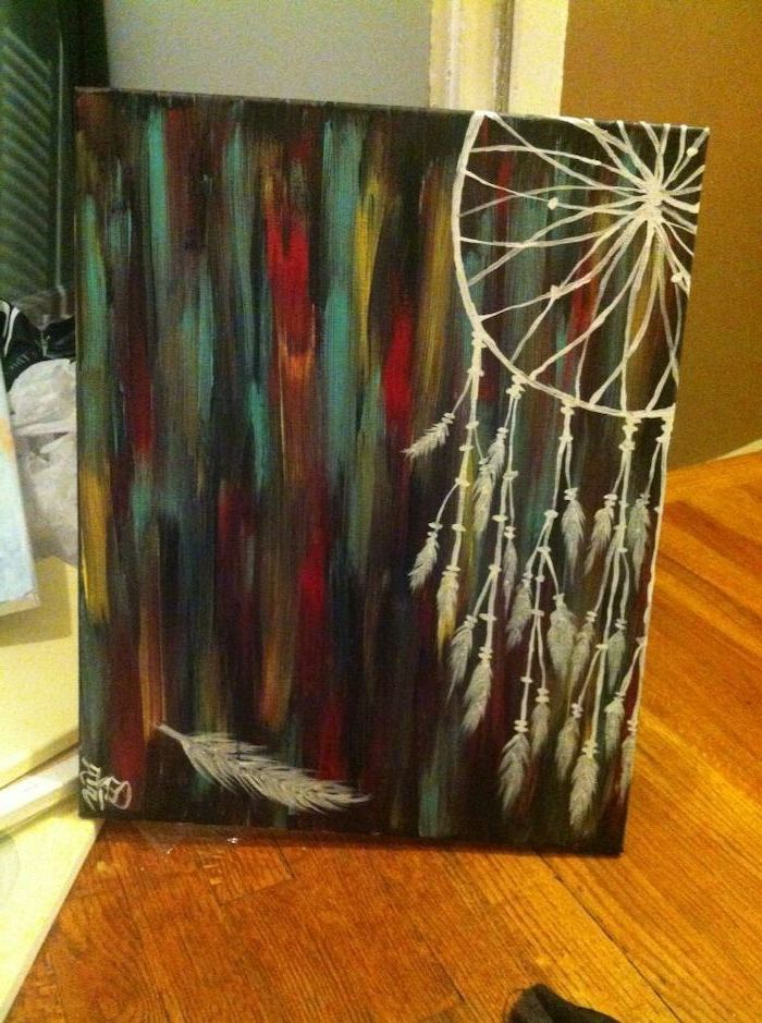white dreamcatcher, dark aesthetic background, canvas leaning on white wall, placed on wooden floor, what to paint on a canvas