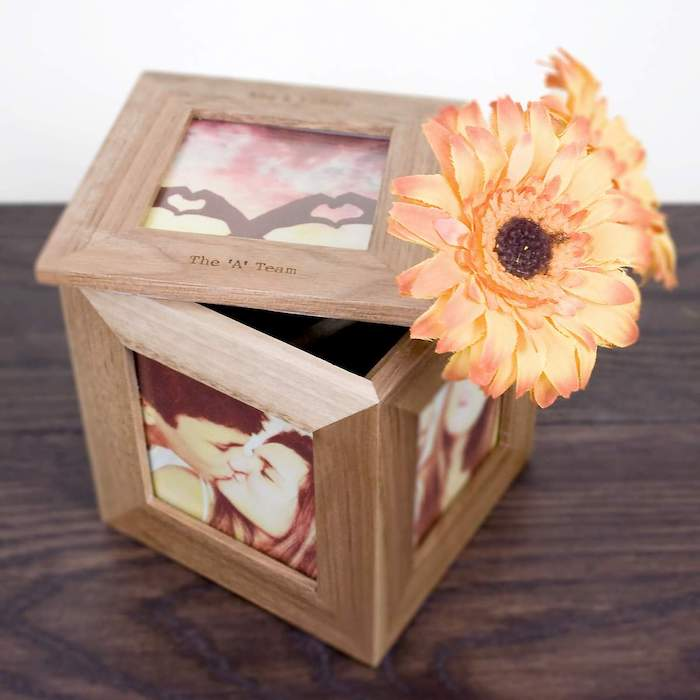 wooden square box, made of photo frames, two faux sunflowers inside, valentine's day gift ideas for her