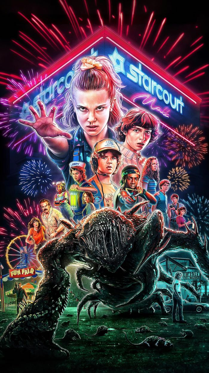 cartoon image of all of the characters in neon colors, stranger things wallpaper, starcourt mall in the background