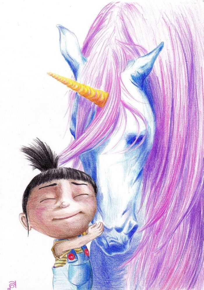 how to draw a unicorn, agnes from despicable me hugging a white unicorn, pink mane and gold horn, pencil sketch