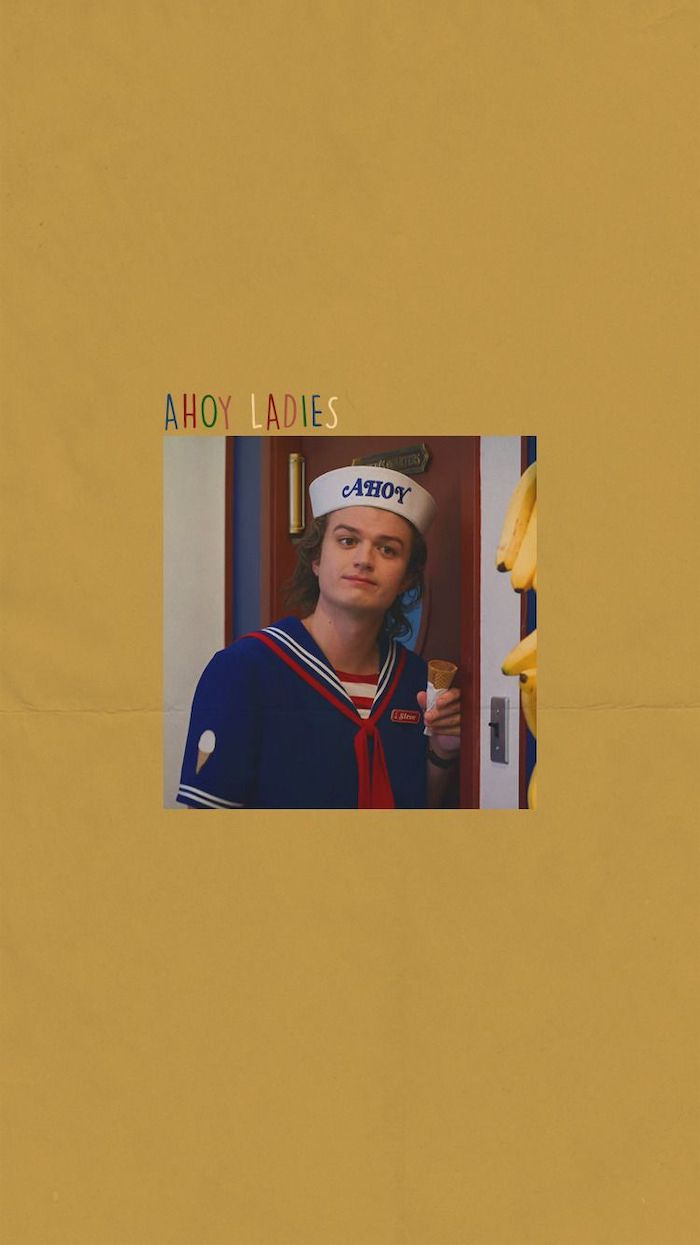 photo of steve harrington, ahoy ladies written above it, stranger things 3 wallpaper, yellow background