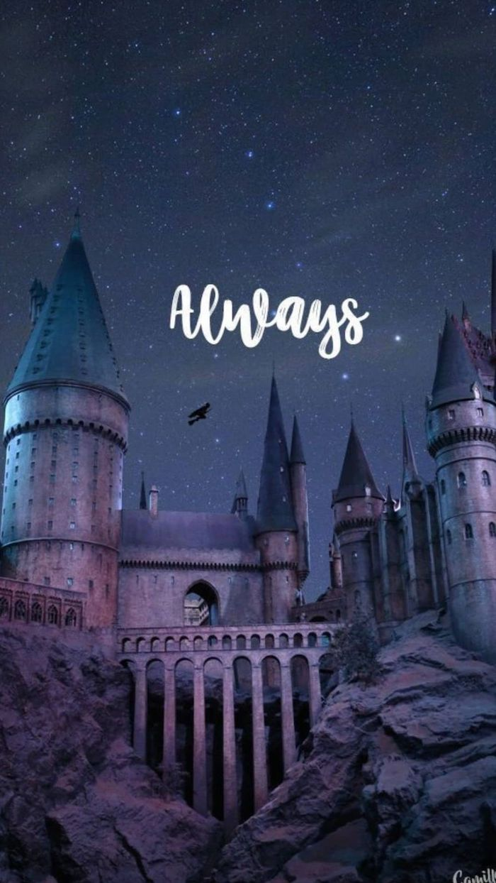always written over an image of hogwarts at night harry potter phone background
