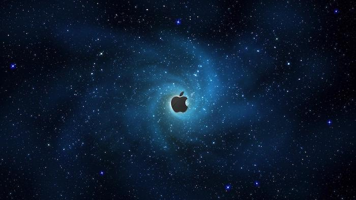 apple logo in the middle, cool galaxy backgrounds, dark aesthetic in blue and black, sky filled with stars