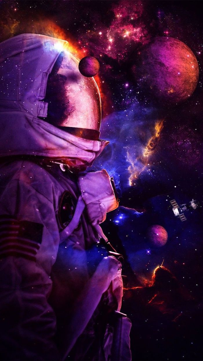 astronaut in the middle of space space wallpaper hd planets around him sky filled with stars
