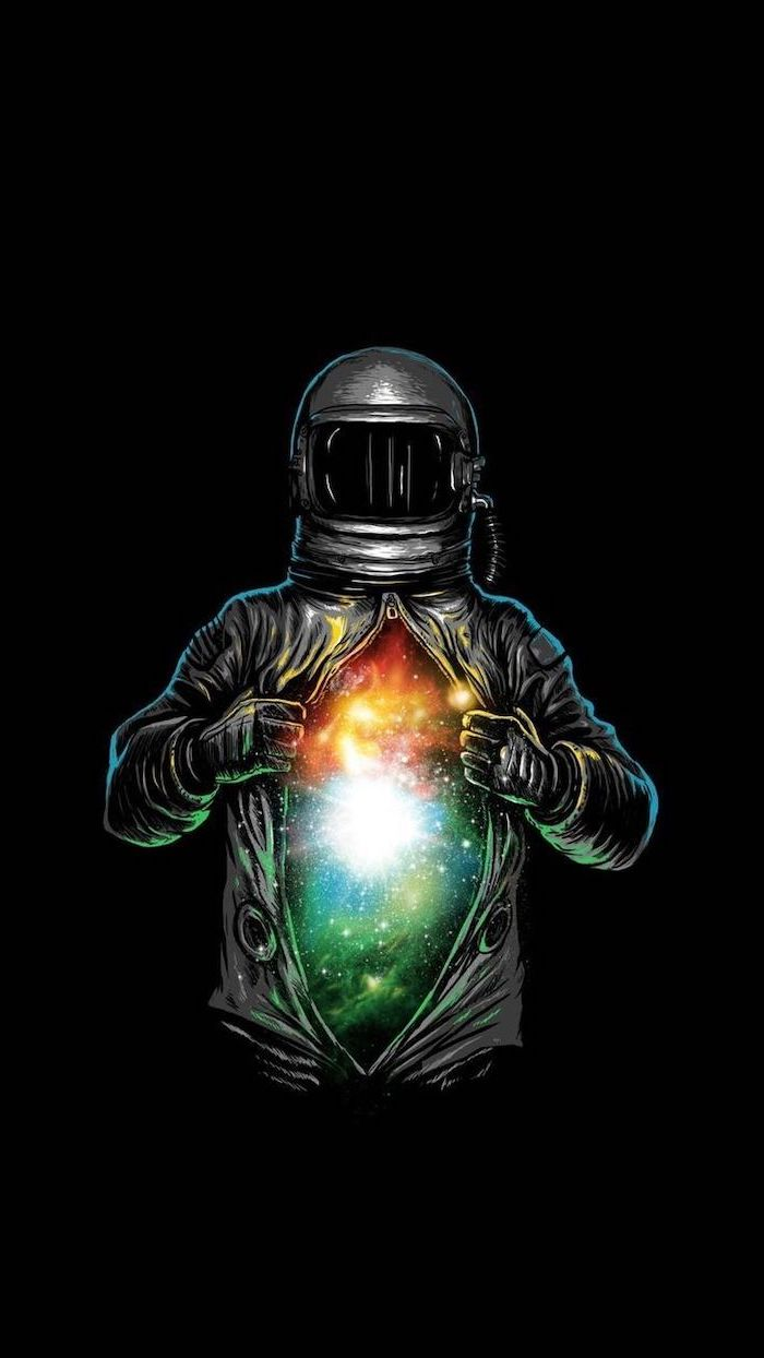 cartoon image of an astronaut, opening his suit to reveal a galaxy, cute galaxy wallpaper, black background