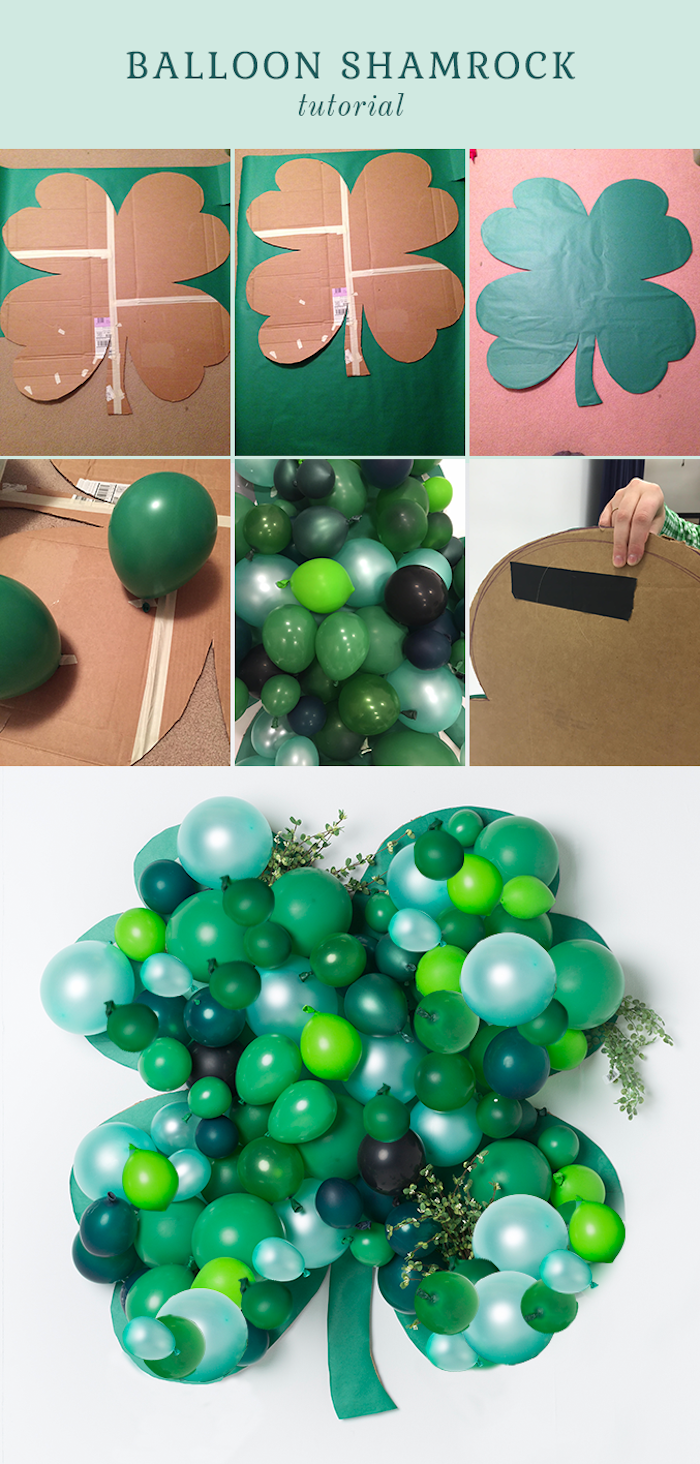 happy st patrick's day, photo collage of step by step diy tutorial, balloon shamrock wall decoration