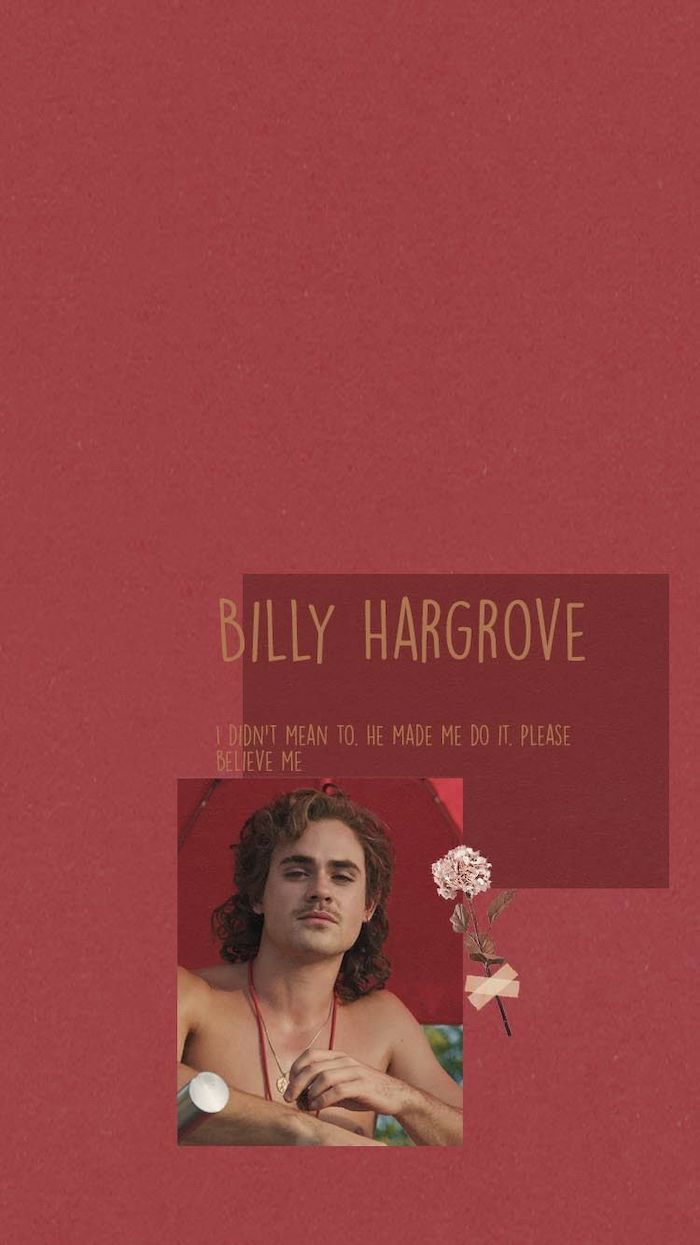 photo of billy hargrove, quote from the character written above the photo, red background, stranger things 3 wallpaper