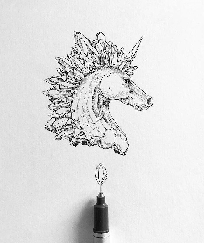 black and white pencil sketch, how to draw a unicorn, unicorn with crystals for mane, drawn on white background