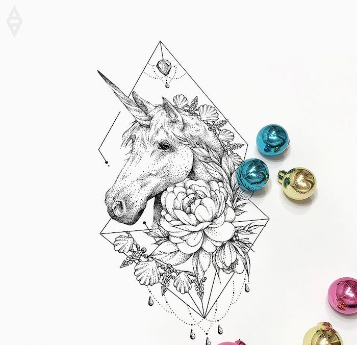 black and white pencil sketch of a unicorn, unicorn drawing easy, surrounded by flowers, blue gold and pink baubles around it
