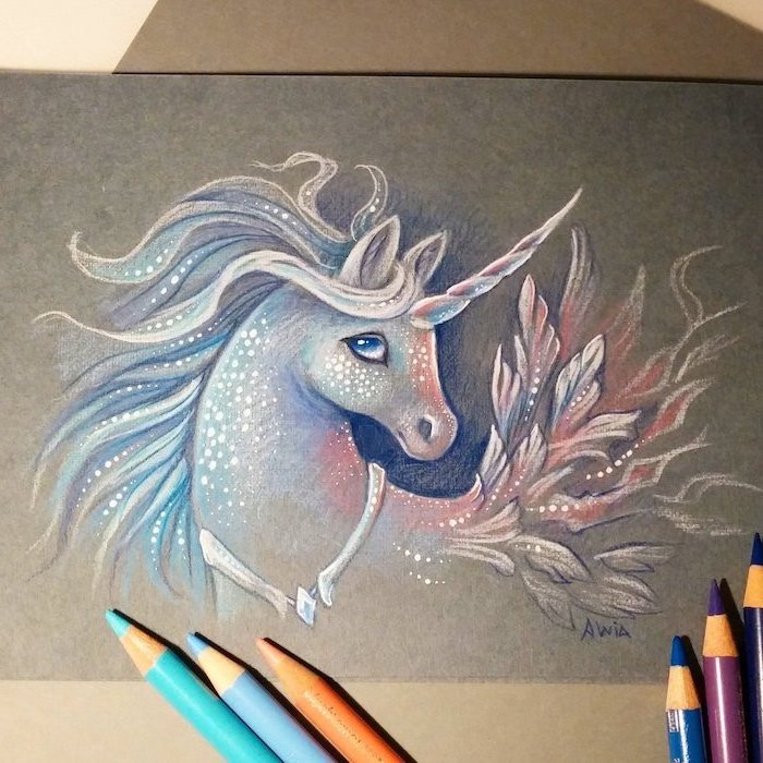 pencil drawing of white unicorn, blue red mane, drawn on black background, how to draw a unicorn