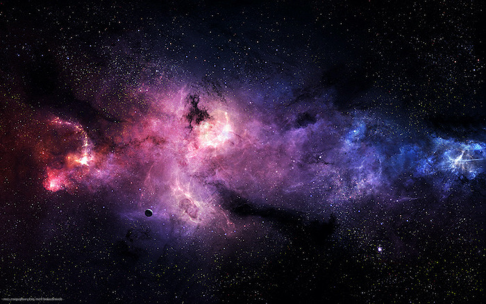 black sky with pink purple and blue clouds, galaxy wallpaper hd, sky filled with stars