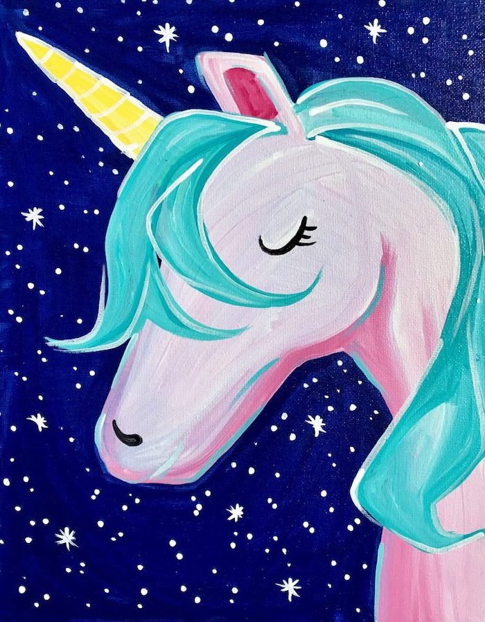 painting of a unicorn with turquoise mane, how to draw a unicorn, drawn on blue background with white stars
