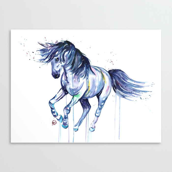 watercolor painting of a unicorn, cute unicorn drawings, painted on white background, hanged on white background