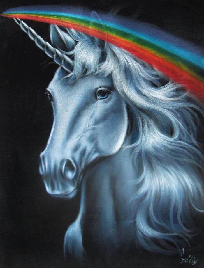 pencil sketch of a unicorn, rainbow coming out of its horn, easy unicorn drawing, drawn on black background