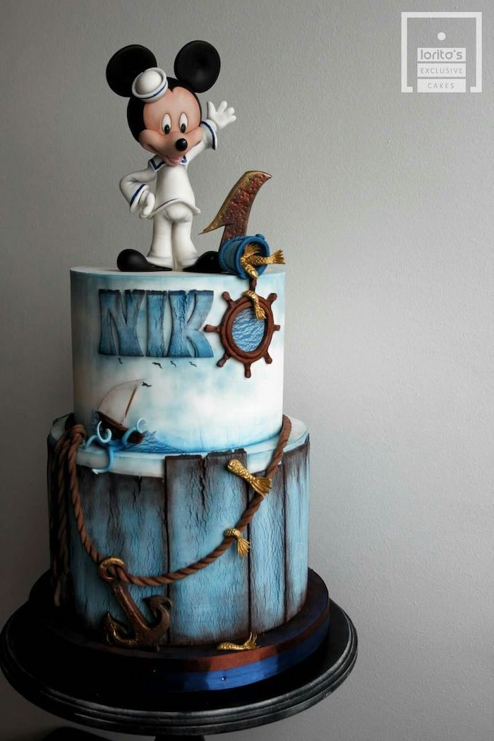 two tier cake, mickey mouse birthday cake, nautical themed cake, covered with blue fondant, sailor mickey cake topper