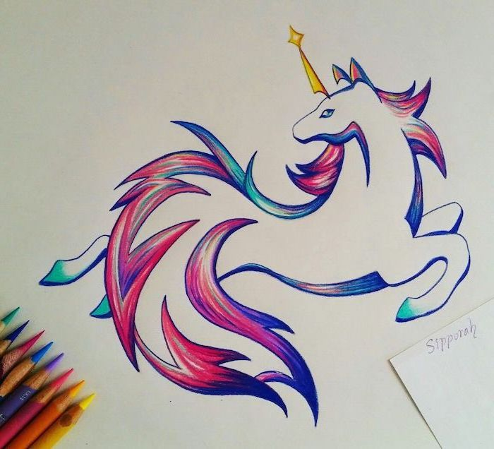 pencil drawing of a unicorn, with colorful mane and gold horn, how to draw a unicorn easy, drawn on white background