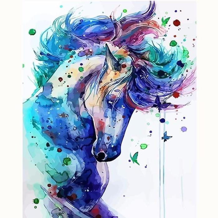 watercolor painting of a unicorn, how to draw a unicorn easy, blue and turquoise and red, painted on white background