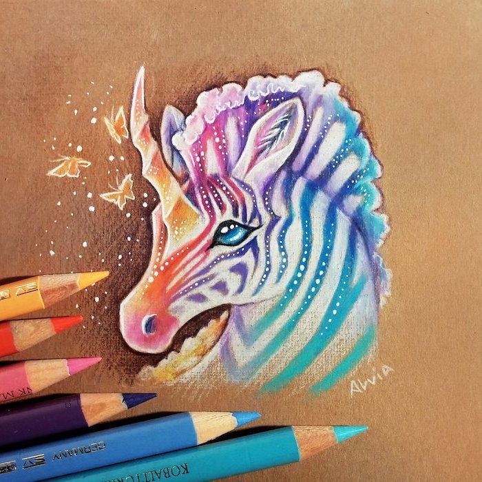 zebra unicorn with rainbow colored stripes, easy unicorn drawing, butterflies around it, pencil sketch on brown background