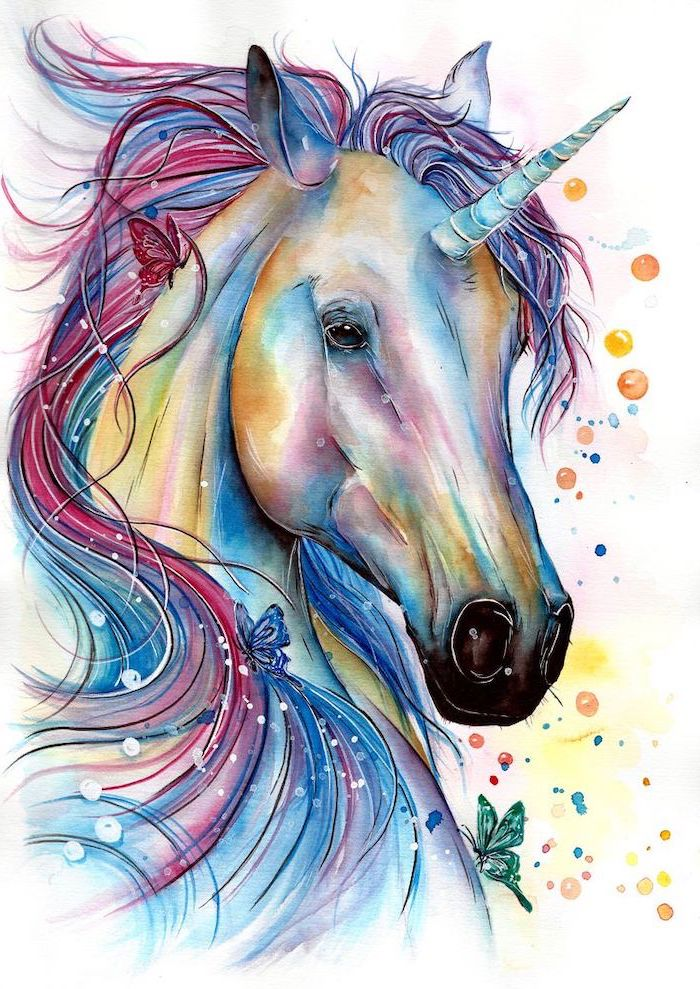 watercolor painting of a unicorn, blue and red mane, easy unicorn drawing, painted on white background