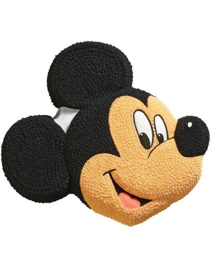cake in the shape of mickey's head, celebration cakes, decorated with buttercream, white background