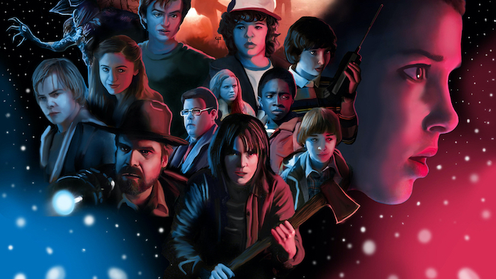 stranger things desktop wallpaper, cartoon image of all the characters, blue and red background