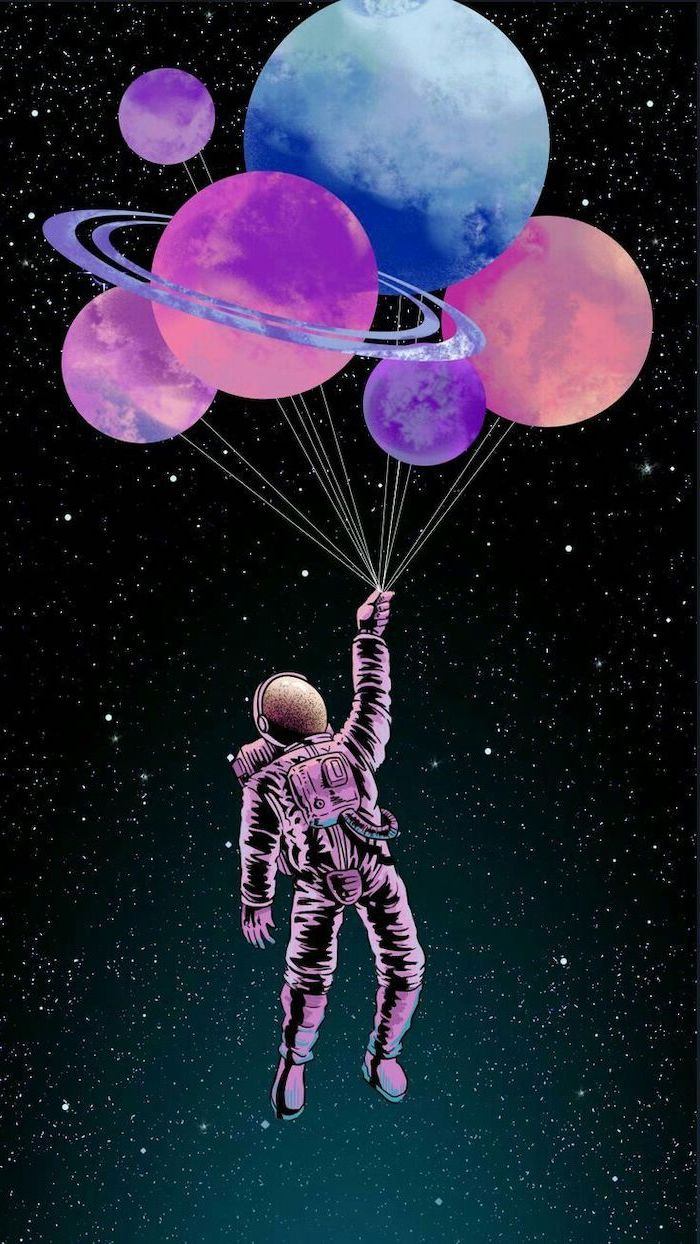 cartoon image of an astronaut, holding a bunch of planet shaped balloons, cute galaxy wallpaper, dark sky with stars background