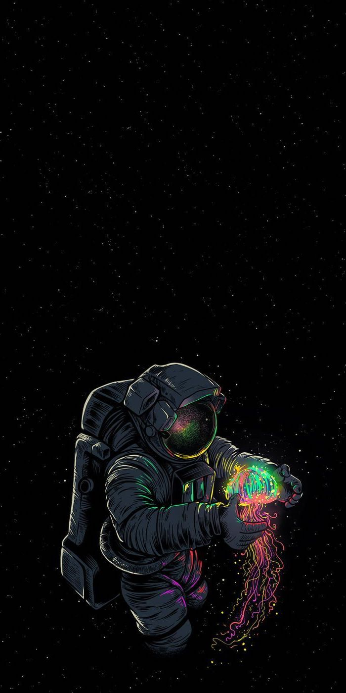 galaxy wallpaper iphone, cartoon image of an astronaut, holding a colorful glowing jelly fish, black background with stars