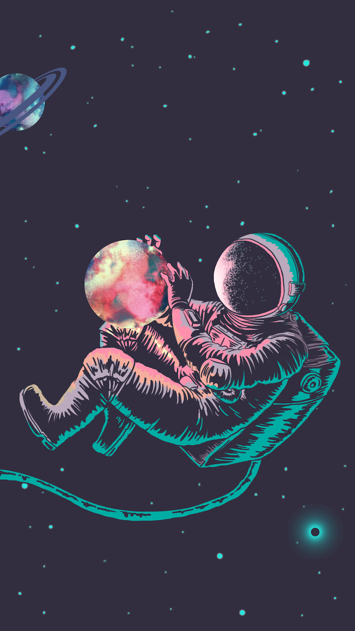 cartoon image of an astronaut in space, holding a colorful planet in his hands, galaxy wallpaper iphone, black background