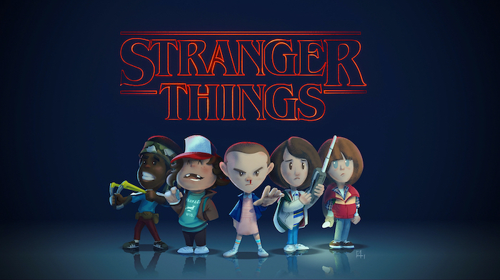 cartoon image of lucas and dustin, eleven mike and will, stranger things desktop wallpaper, title logo written in red