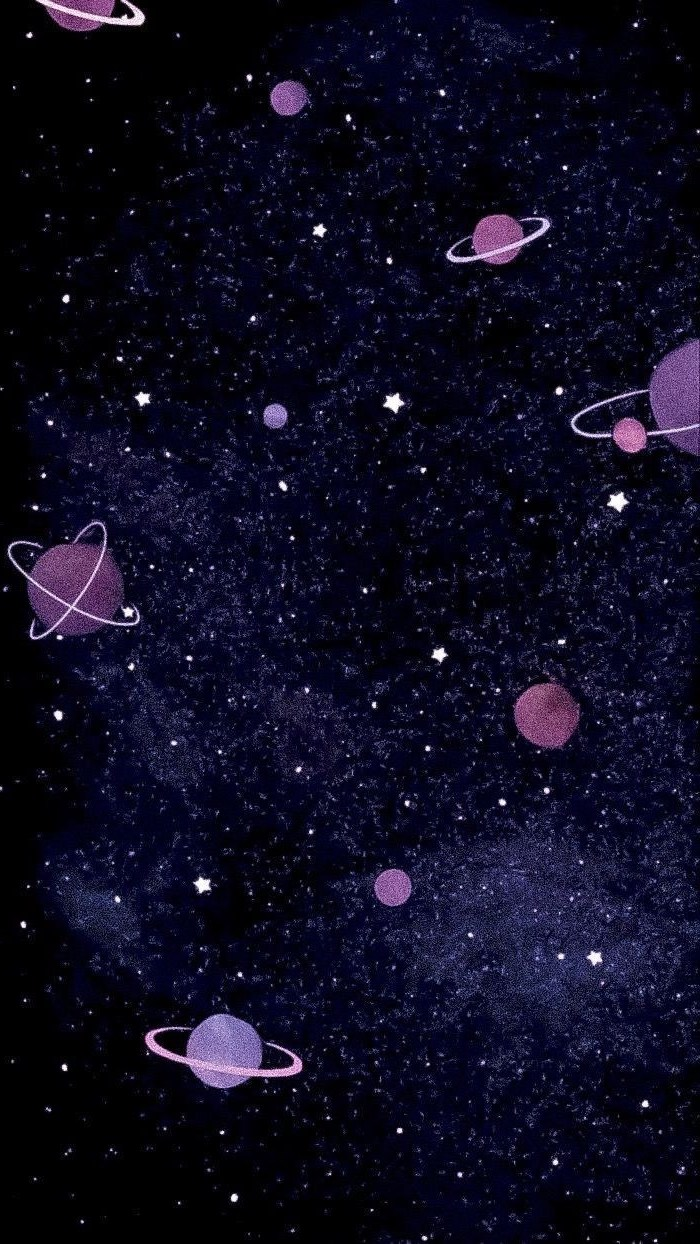 cartoon image of different planets, galaxy wallpaper iphone, stars on dark black and purple background