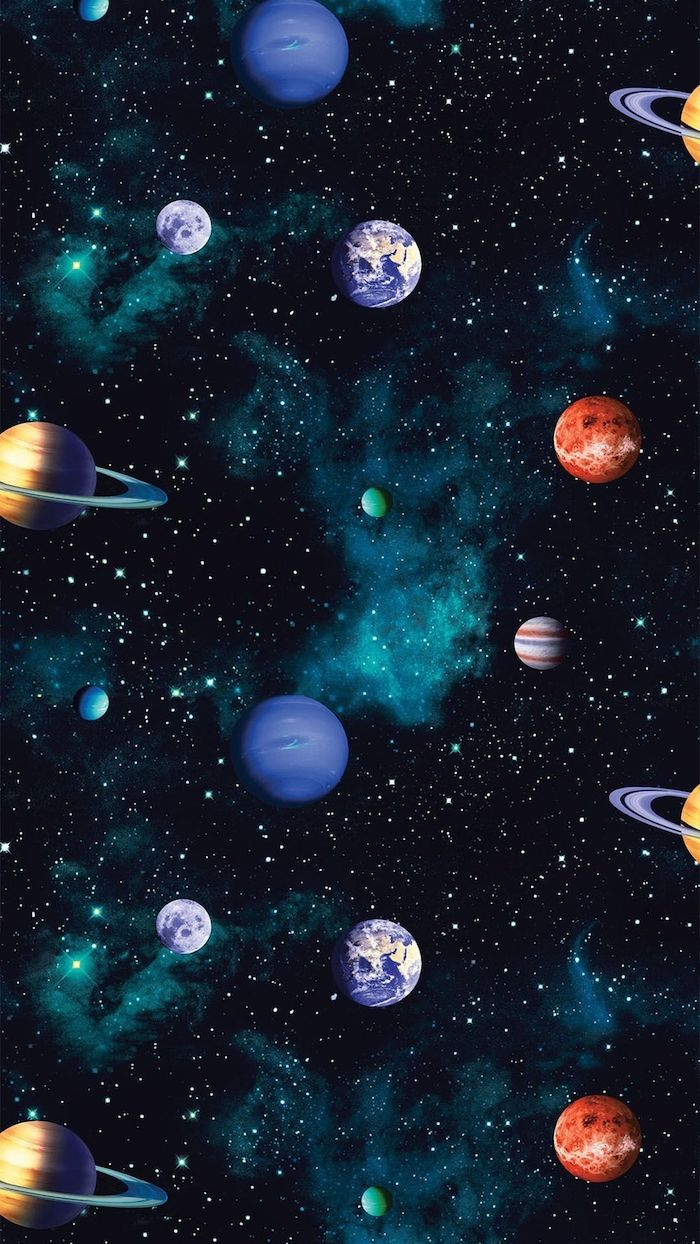 black and turquoise background, sky filled with stars, galaxy wallpaper, cartoon image of different planets
