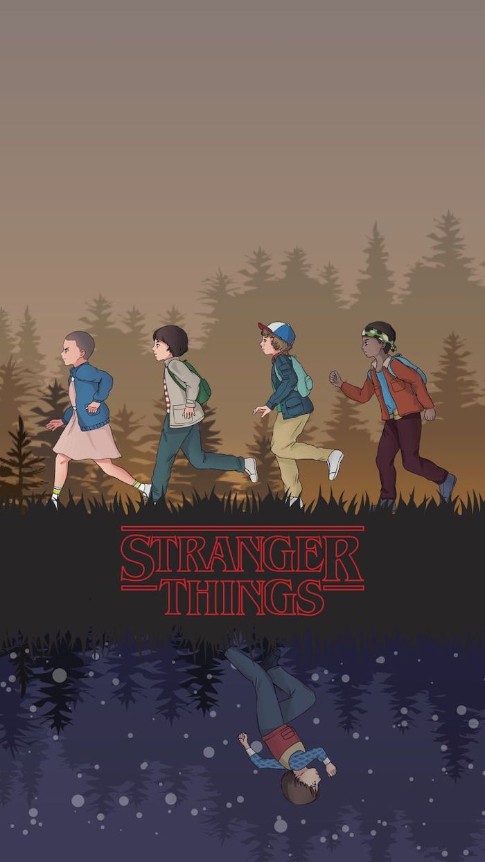cartoon image of eleven and mike, dustin and lucas running, stranger things 3 wallpaper, will in the upside down