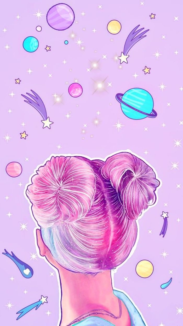 cartoon image of a girl with pink har in two buns, space wallpaper iphone, surrounded by planets and shooting stars