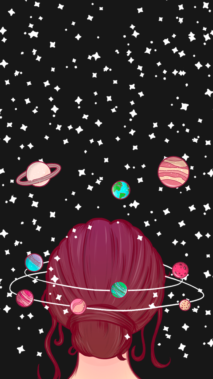 galaxy wallpaper iphone, cartoon image of a girl with red hair in a bun, surrounded by planets and stars, black background