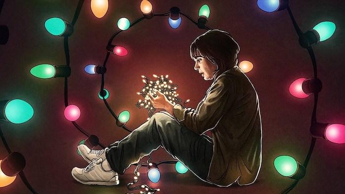 stranger things season 3 wallpaper, cartoon image of joyce byers, sitting on the floor, holding tangled fairy lights