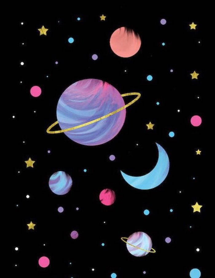 cartoon image of different planets and stars, galaxy wallpaper iphone, black background