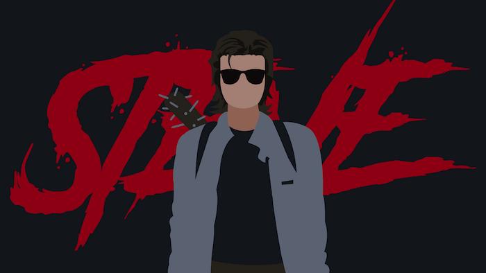 cartoon image of steve harrington, stranger things season 3 wallpaper, steve written in red on black background