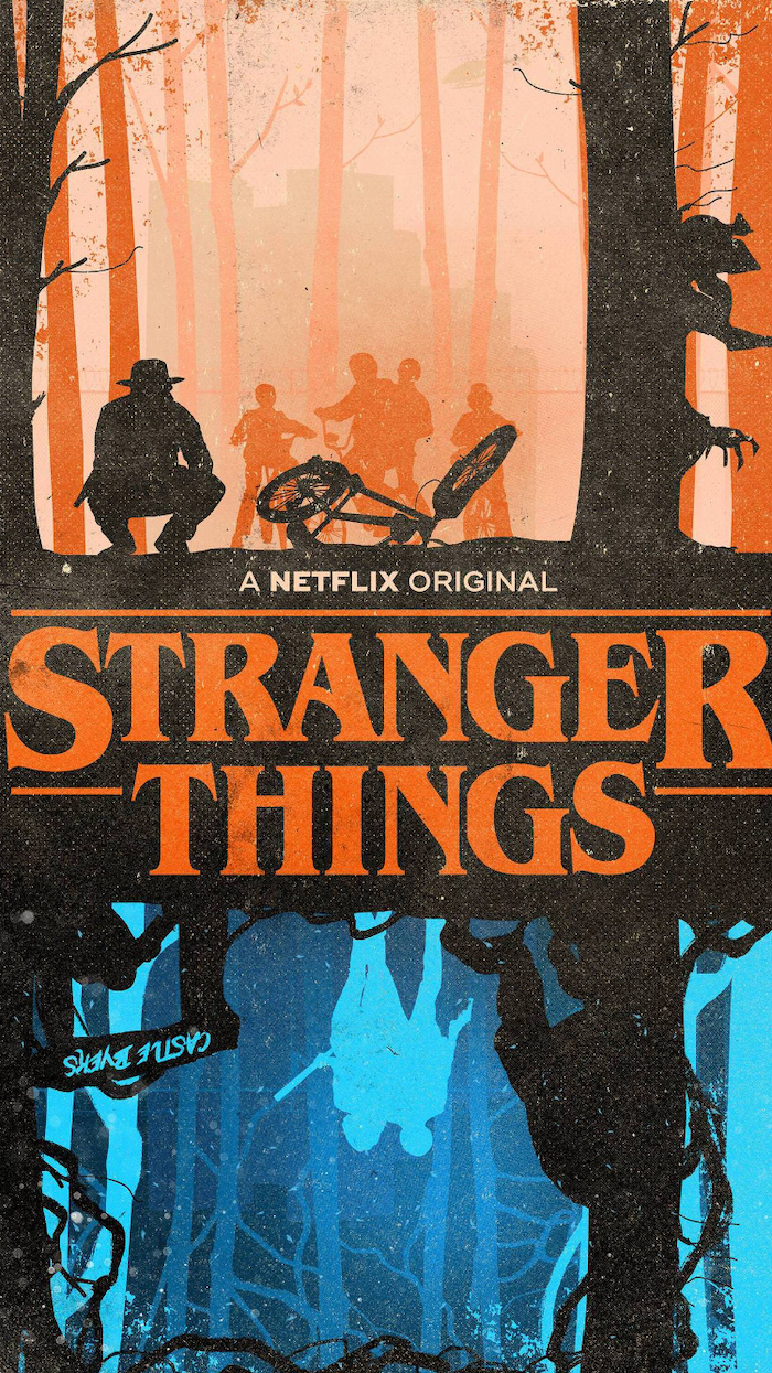 cartoon image of scenes from the show, stranger things wallpaper season 3, scene from the upside down