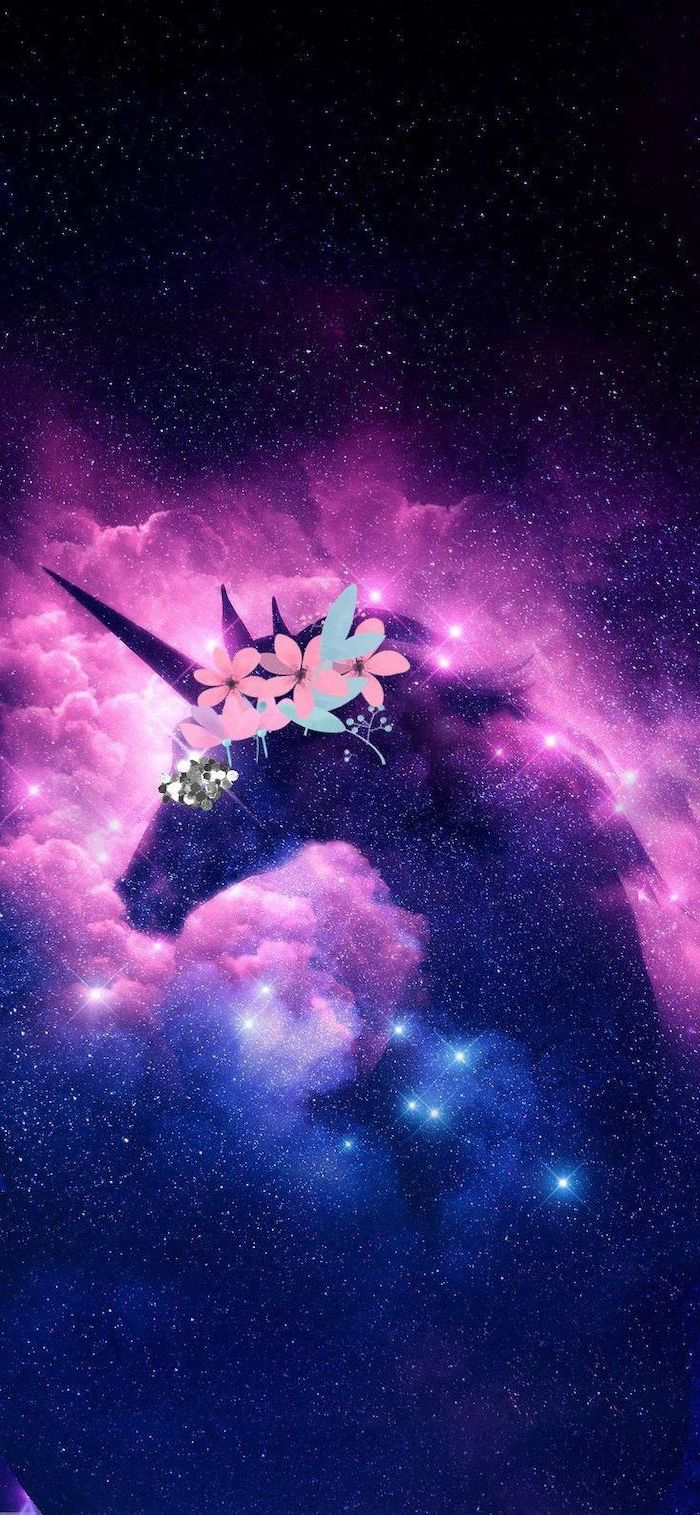 cartoon image of an unicorn with floral crown, pink blue and black background, sky filled with stars, space wallpaper iphone